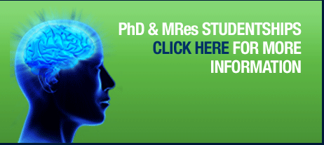 Button which reads: PhD and MRes Studentships - Click here for more information