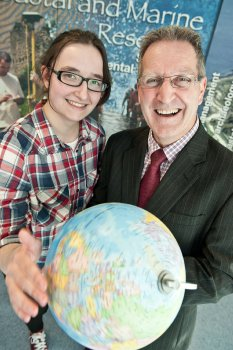 Taking on the world - Kyra Reynolds with Professor Adrian Moore