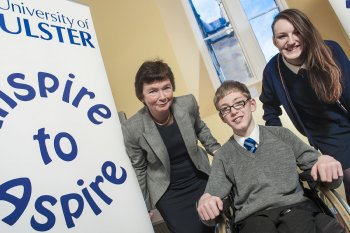 Professor Anne Moran, Pro-Vice-Chancellor, Educational Partnerships and International Affairs, pictured with Scott McCarter, Strabane Academy and Terrylee McDaid, Oakgrove Integrated College, at Ulster's Inspire to Aspire event