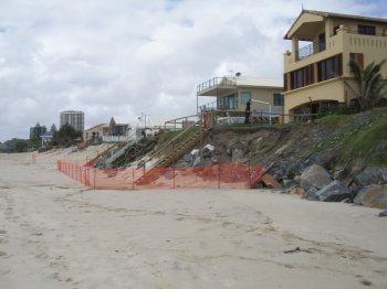 Erosion at Palm Beach, Gold Coast in Queensland, Australia