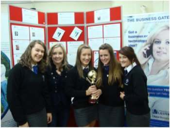 Dalriada School Winning Team 1 pictured with Dr Lisa Bradley (Department of Business, Retail and Financial Services, Ulster Business School)