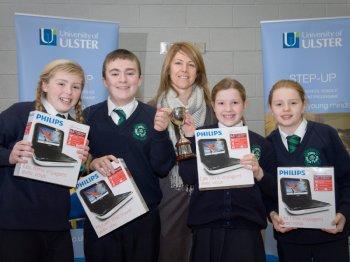 BRIGHT SPARKS: Children from Saint Patricks Primary School, Londonderry. with teacherMrs Jacqueline Quinn (teacher)