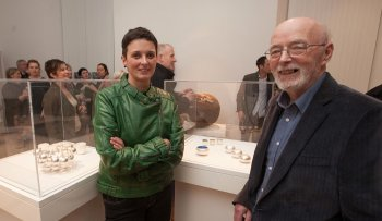 Cara Murphy and her dad Michael McCrory at the opening of the Future Beauty? exhibition in Kilkenny