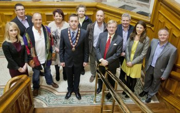 From left: Claire McCauley, University of Ulster event organiser, Liam Quigley, Assistant Director for Day Support and Community Services with Niamh (Northern Ireland Association of Mental Health); John Bell, yoga instructor; Marie O'Neill, Nursing lecturer and event organiser; Deputy Mayor of Derry, Councillor Gary Middleton; Kitty O'Kane, Mind Yourself; Tony Doherty, General Manager of Bogside & Brandywell Health Forum; Professor Hugh McKenna; Ollie Green, Director of Greater Shantallow Community Arts group; Oonagh McGillion, Director of Legacy, Derry City Council and Professor Frank Lyons, Director of the Arts & Humanities Research Institute (AHRI) at the University of Ulster.