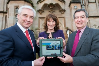University of Ulster Vice-Chancellor, Professor Richard Barnett and St. Mary's College principal, Marie Lindsay, pictured with UTV's Paul Clarke at the launch of the University's, 'Ed.Link', portal for schools.