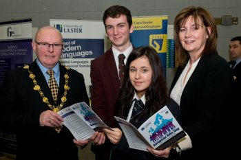 Mayor of Derry, Cllr Kevin Campbell, withJohn Neilly, Foyle College, Leigh Spratt, Lisneal Colleage and Moira McCarthy, Career Development Manager, pictured at European Jobs Day in Magee