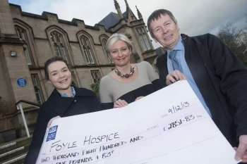 University of Ulster Business student, Emma Laverty, pictured with lecturer Gráinne Tuohy and Noel McMonagle, Foyle Hospice.