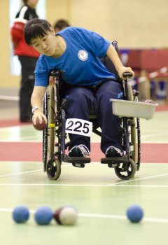 Hong Kong's Hoi Ying Karen Kwok plays in the BC2 category of today's [Tuesday] Boccia World Cup at the University of Ulster's Jordanstown campus. Hoi Ying Karen Kwok beat Thailand's Maleemao Supaporn 6-1 in the first match of the pools section of the individual event