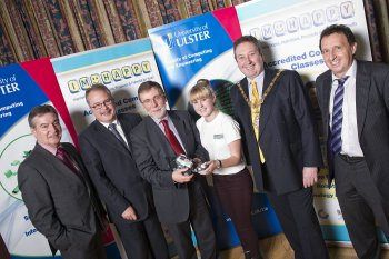 Nelson McCausland MLA, Minister for Social Development (centre) with from left: Professor Richard Barnett, Vice-Chancellor; Ian Donaghey MBE, Coleraine Neighbourhood Renewal Partnership; Carrie-Lyn Kane from Coleraine, research assistant and mentor; Councillor David Harding, Mayor of Coleraine; and Martin McKinney, Head of the School of Computing and Information Engineering
