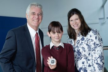 Leona Parry, St Joseph's College, winner of the Individual prize at the GIS workshop for schools held at Coleraine campus of University of Ulster with Professor Keith Day (Head of School of Environmental Sciences) and Dr Aideen Hunter (School of Education).