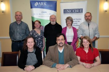 The INCORE team: Back Row: Brendan Lynn, Shonagh Higgenbotham, Martin Melaugh, Gillian Robinson, Mike McCoolFront Row: Grainne Kelly, Brandon Hamber, Ann Marie Dorrity
