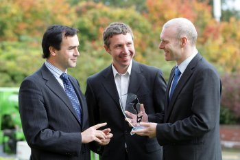 Ivan Coulter of Sigmoid, Facebook's Colm Long and the University of Ulster's Barry Henderson network at the Irish Times InterTradeIreland Innovation Awards launch