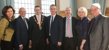 University of Ulster Chancellor James Nesbitt pictured with Professor Deirdre Heenan, Pro-vice Chancellor of Communications and Provost of the Magee and Coleraine campuses , John Compton, Chief Executive Health and Social Care Board, Mayor ofDerry,Councillor Martin Reilly, Gerry Guckian, Chair of the WHSCT, Elaine Way, Chief Executive, WHSCT and Joe Mahon, Compere, at the annual Social Work Awards in the Guildhall Derry~Londonderry