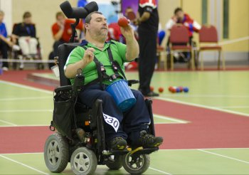 Ireland's Jason Kearney, who beat Argentina's Pablo Sebastián Gonzales 4-1 in the BC2 category of the 2011 Boccia World Cup