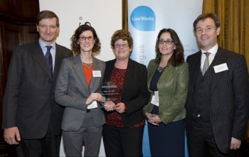 Dominic Grieve, Attorney General, pictured with Dr Grainne McKeever, Kathy Sinclair, Dr Esther McGuinness and Ciaran White, School of Law, collecting the award for Best New Student Pro Bono Activity at the LawWorks and Attorney General Awards hosted in the House of Commons earlier this week