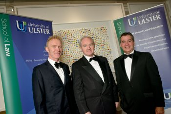 Lord Chief Justice Sir Declan Morgan, centre, met with Eugene McNamee, Head of the School of Law at the University of Ulster (left) and Ulster Vice-Chancellor Professor Richard Barnett at the 21st Anniversary Gala Celebrations for the University's School of Law