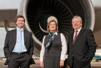 HIGH FLIERS:Alan Leacock and Edel O'Neill from Lenis Aer – overall winner for best venture stemming from a university spin-out / platform programme in the InterTradeIreland Seedcorn 2010 competition, with Liam Nellis, Chief Executive of InterTradeIreland
