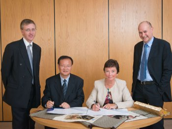 Dr Paul Hanna, Head of School of Computing and Mathematics, Ulster; Professor Gefu JIANG, Executive Pro-Vice-Chancellor, SWJTU; Professor Anne Moran, Pro-Vice-Chancellor (Educational Partnerships and International Affairs), Ulster and Professor Bryan Scotney, Director of CSRI, Ulster at the signing of the Memorandum of Understanding