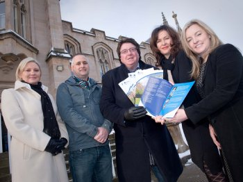 L- R: Grainne Tuohy, course director, Michael McGlinchey, Bill Quigley, Professor Deirdre Heenan, Dean of Academic Development at Magee and Dr Lisa Bradley, Head of the Department of International Business