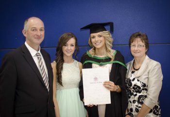 Graduate Rachel McConnell with her parents, Avril and Raymond, and sister, Sarah