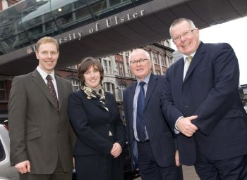 Dr Neale Blair, RTPI President Ann Skippers, Professor Alastair Adair and Professor Greg Lloyd at the University of Ulster's Belfast campus today