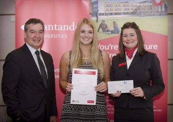 Jacqui Montgomery, BA Hons French and Spanish, receives a Santander Study Abroad Scholarship from Vice Chancellor, Professor Richard Barnett and Laura McDonald, Branch Manager, Santander University of Ulster, Belfast Campus.