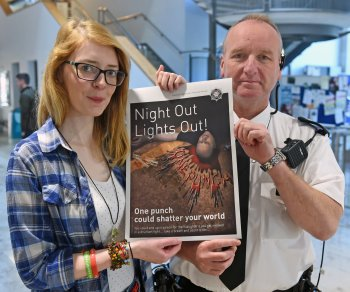 Pictured Sarah Gordon, vice-president of the Ulster University Students' Union, Belfast and Inspector Raymond Shaw, Laganbank Neighbourhood Policing Team.