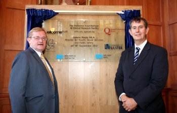 Professor Hugh McKenna, Pro-Vice-Chancellor, Research and Innovation with Health Minister, Edwin Poots MLAat the opening of the The Wellcome Trust-Wolfson Foundation Northern Ireland Clinical Research Facility (NICRF) in Belfast